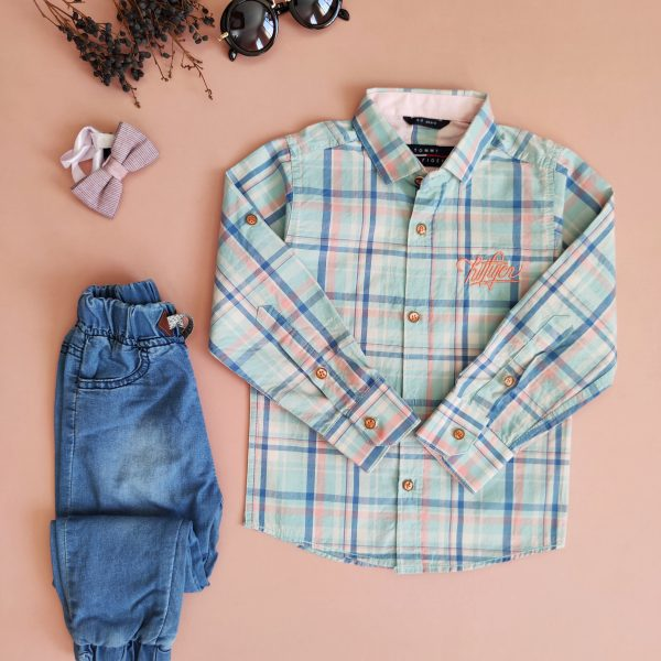پیراهن پسرانه چهارخانه